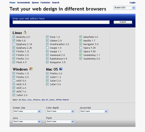 Test your web design in different browsers